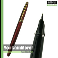 Crocodile 215 Matte Wine And Gold Cayman Mouth Fine Nib Fountain Pen