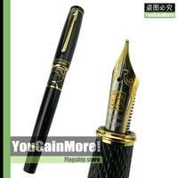 """Picasso 928 Black Lacquered Picasso's """"dream"""" M 18KGP Nib Fountain Pen Gold Trim"""