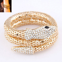 Min Order $10 2014 New Fashion Punk Metal Crystal Snake Bangle Multilayer Women Bracelet Bangle