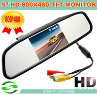 "Free Shipping,High Resolution 5"" 800*480 Digital Panel Car parking Mirror Monitor With Bracket 2 Video Input For Rearview System"