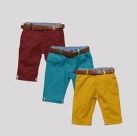 New arrival Kids pants Spring 2014  children pants boys fifth pants with belt 2pcs summer baby pants suit for 2y-8ys