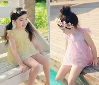 2014New children clothing Dress Baby Girl Summer casual short-sleeved chiffon dresses kids princess dress 5pcs/lot free shipping