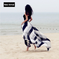 Free Shipping 2014 Summer Spring Women Fashion Loose Maxi Skirts Print Chiffon Stripe Floor Length Casual Pleated Skirt (S-XXL)