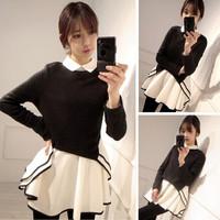 2014 brief ol elegant ladies turn-down collar classic black and white color block decoration elegant slim one-piece dress