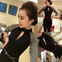 2014 spring ladies sexy cutout back zipper slim hip placketing one-piece dress