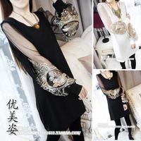 2014 spring women skirt sweet embroidery gauze lantern sleeve long-sleeve patchwork elegant one-piece dress