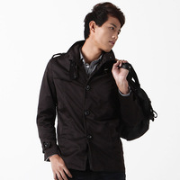 Autumn male medium-long slim outerwear casual male trench jacket black outerwear