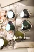 Free Shipping Wholesale 2014 New Round Frame Triangle Sunglasses Women/Men Unique Fashion Vintage Retro Sunglasses  #WY202