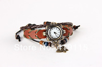 New Women Retro Braided Bracelet Genuine Leather Strap Watch Butterfly Watch Ladies Dress Watch