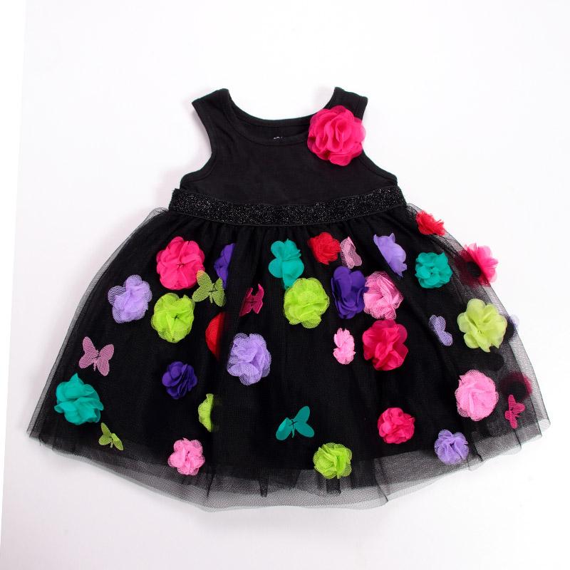 2014 Children's clothing fashion female child place the flower princess formal dress vest one-piece dress(China (Mainland))