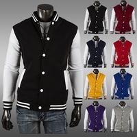 Freeshipping 2014 New Men's Long Sleeves Sweater baseball Jacket Male's Fashion Sport Coat Size:M-XXL