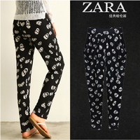 2014 spring fashion plus size clothing skull casual trousers mm Large pants harem pants