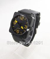 Free shipping, New 2014 Fashion  Men's Military Style Quartz  Wrist Watch,Black Square Case&Dial,Rubber Strap Yellow 3,6,9,12No.