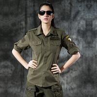Clothing Women Fashion Design 101 Army Green  Cotton Long-sleeve Shirt SizeS M L XL Color;Army Green/Black