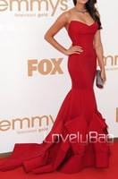 13P046  Red Strapless Ruffles Mermaid Train Stunning Matte Satin Prom Gown Evening Dress