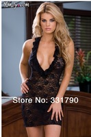 (min order 10$) puls size xxxl 655722 High quality sexy lace transparent short nightgown lingerie wholesale