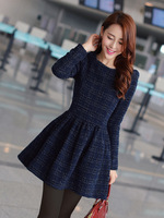 2014 autumn and winter one-piece dress slim sweet elegant plus size long-sleeve thickening woolen basic ladies skirt