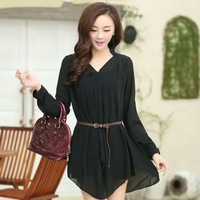 Spring V-neck casual loose lacing chiffon shirt
