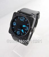 Free shipping, New 2014 Fashion  Men's Military Style Quartz  Wrist Watch, Black Square Case&Rubber Strap.Blur Number Black Dial