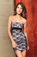 Elegant lace mini dress with lining bandeau-style lace tube top small western dress