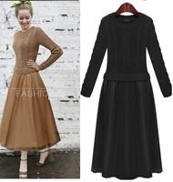 Hot !2014  Ladies fashion casual    spring fashion faux two piece sweater chiffon full dress  Free Shipping