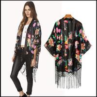 2014 S/S Floral Print  Kimono Tassel   Blouse  Top