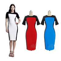 New 2014 summer&autumn  vintage brief short-sleeve plus size elegant OL fashion one-piece dress Bodycon party dress Casual dress