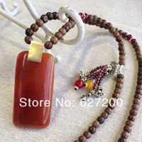 Aventurine jade sandalwood garnet high quality jewelry beaded necklace