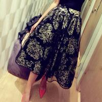 Circleof spring noble ladies print organza bust skirt big skirt a-line skirt elegant long skirt