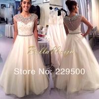 Custom Made Real Sample Show vestido de festa Tulle Beige Long Ball Gown Evening Dress 2014