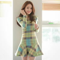Free Shipping 2014  New arrive Fashion women's Classic Casual Long Sleeve Cotton Spring Dress S M L XL Puls Size  #12961