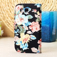 Leather Flip Stand Purse Wallet Case for samsung SIII i9300, Cute Flower cloth leather case For Samsung Galaxy S3 SIII i9300