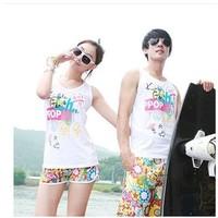 Lovers beach pants quick-drying female plus size plus size shorts set beach pants
