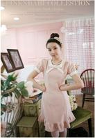 Sweet gentlewomen bow ruffle one-piece dress pink short-sleeve 0014