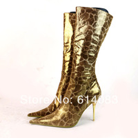 Special Offer Free Shipping 2014 Women's New Fashion Authentic Gold Leopard Cow Leather Heeled High Spring/Autumn Boots