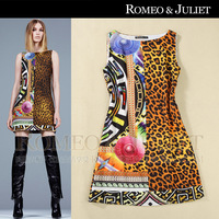 2014 fashion spring and summer women's leopard print mix match print straight tank dress one-piece dress