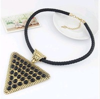 2014 New Hot Sell Unique and Speical Leather Necklace Geometry Triangle Pendants Necklace Jewelry D14