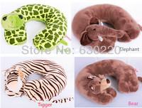 NICI Animals Stuffed Serise Kawaii Monkey/Elephant/Turtle/Hippos Plush Pillow Car/Air Rest Funny U- Neck Pillows Free shipping