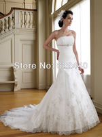 New Designer! Free Shipping Fashion Applique And Beaded Lace Edge Court Train Wedding Dress