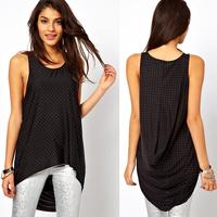 Bling dovetail sweep chiffon asymmetrical sleeveless round neck T-shirt long design female vest haoduoyi