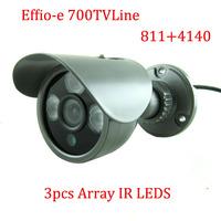 "1/3"" Sony Effio-e 700TVLine 960H 3pcs Array IR LEDS outdoor/indoor waterproof Security CCTV Camera with bracket.Free shipping"