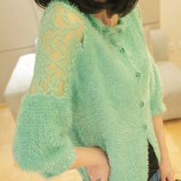 spring 2014 sweet lace cutout shoulder width mohair clothes outerwear sweater cardigan female LS116