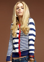 2014 Navy style women's fashion striped cardigans sweaters free shipping 1M13