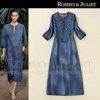 2014 fashion spring and summer women's embroidery medium-long denim one-piece dress