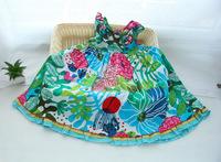 2014French Catimini girl summer flower clothing  sleeveless cotton dress for kds princess dress