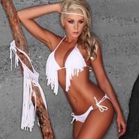 New 2014 Brand Bathing Suit Summer Beach Sexy Tassel Bikinis Set Women's Fringe Swimwear Swimsuit 7 Colors 3 Sizes S,M,L BKN002