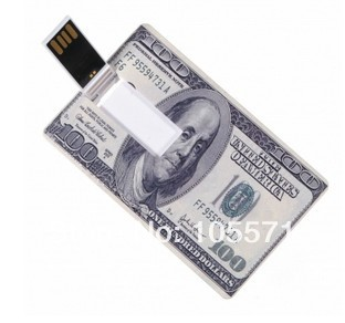 USD cash money 100% Good reputation credit card usb flash drive business card usb flash disk gift with customized logo available(China (Mainland))
