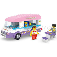 Building Block City Ice-cream Van Truck Bricks Toy Set Great Gift 3 Mini-figures