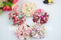 Free Shipping  (40pcs/lot)Colorful Floral Print Chiffon Flower Pearls And Rhinestones Fabric Flowers Flat Back
