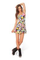 Fashion G9 HOT Women digital print pleated Adventure Time Bro Ball Reversible Skater Dress Plus Size Free
